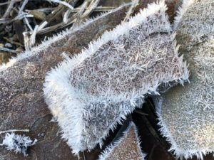 Frosty stone, with the angles of the stone defined by needle-like ice crystals.